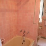 pink tile and yellow tub