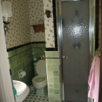 old bathroom with green tile